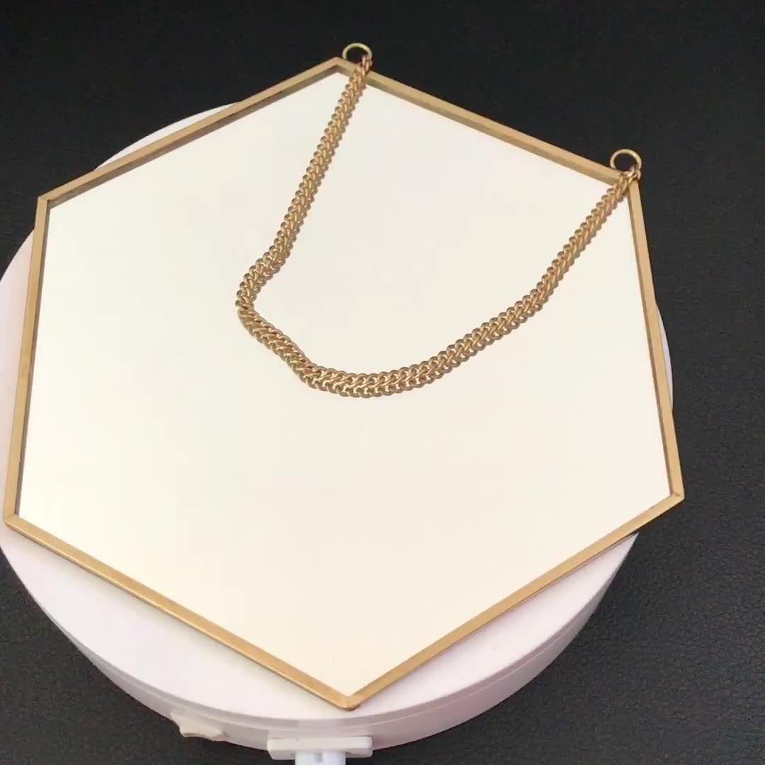 Appeso oro bagno di metallo quadrato rettangolo di esagono decorativo specchio a parete