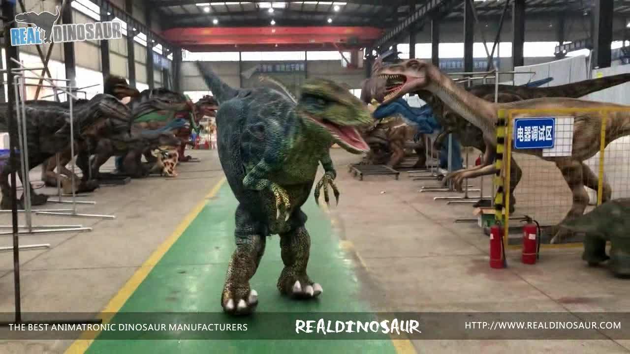واقعية المشي روبوت فيلوسيرابتور ازياء ديناصور في الخفية الساقين