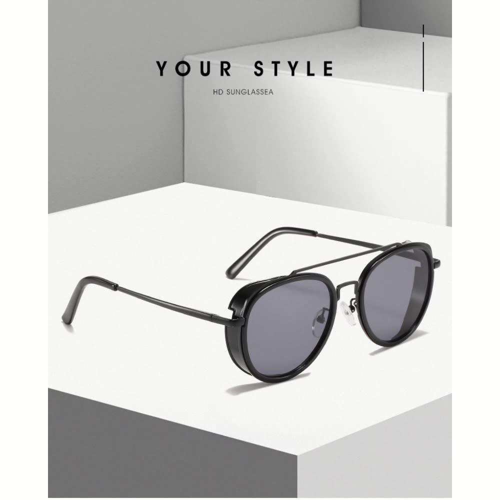 2021 Fashion Keren Gaya Kacamata Jembatan Ganda Round Kacamata Wanita Pria Hitam Perak Logo Kustom Logam Frame Abu-abu Waktu Usia