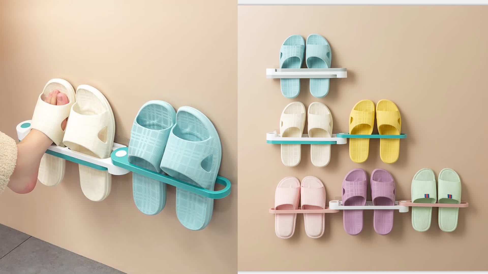 Menakjubkan Lipat Sandal Sepatu Plastik Gantungan Dinding Menggantung Teleskopik Tiga Dalam Satu Kamar Mandi Rak Sepatu untuk Rumah