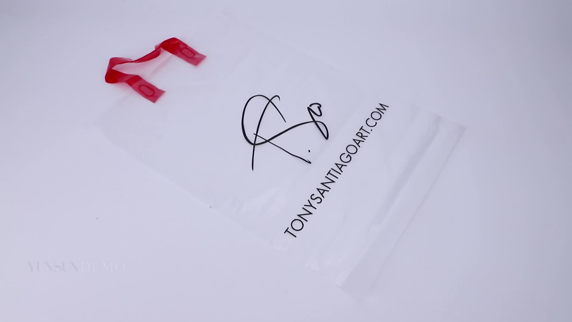 Изготовленные на заказ пластиковые мешки ручки покупок с собственным логотипом и печатанием текста