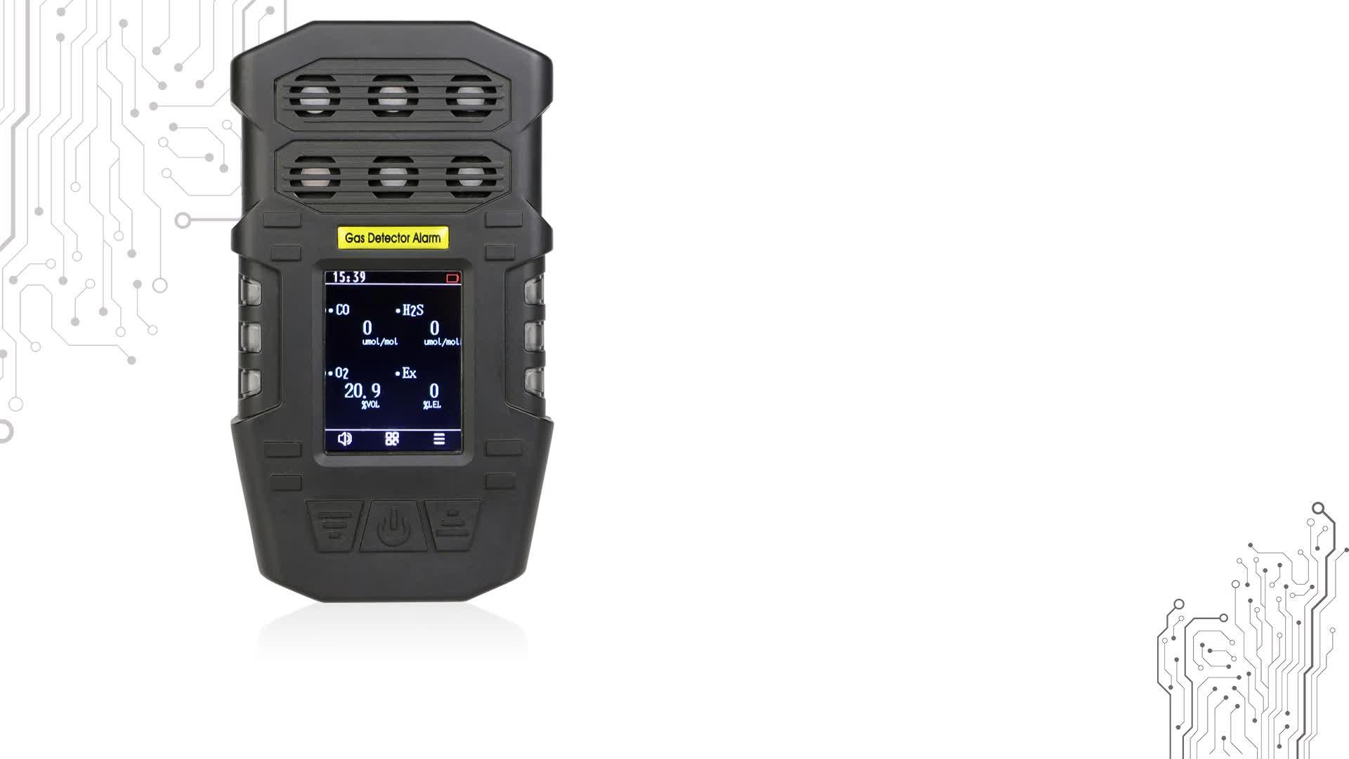 マルチガス h2s ポータブル酸素二酸化炭素 co2 ガス検知器ガス警報検出システム