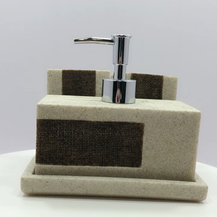 Bath Accessories Hand-painted Natural Sand Color Resin Bathroom Sets for Toilet Decor