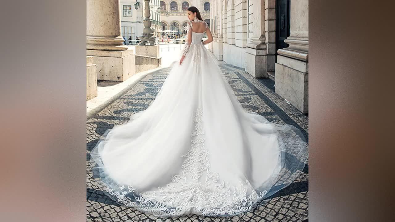 Long Sleeve Wedding Dresses Ball Gown Bridal Gown 2019 Africa Wedding Gowns Lace Bridal Wedding Dress Vestido de novia A258