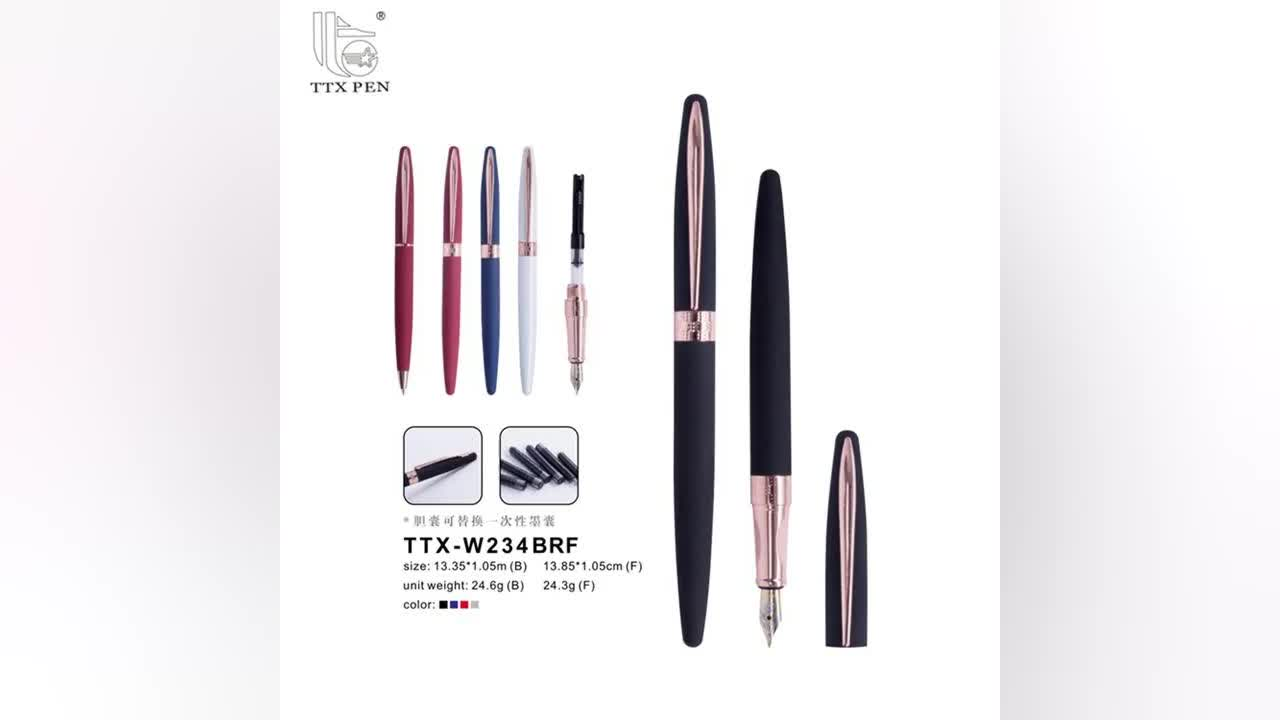 High quality luxury metal fountain pen with metal clip business gift writing office supplies
