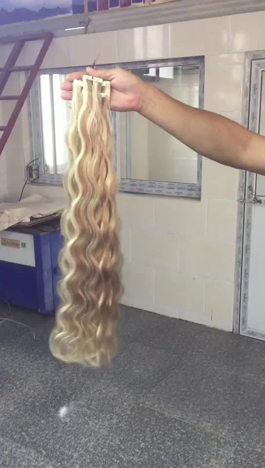Wholesale 100% human hair cuticle aligned indian remy curly tape in extensions