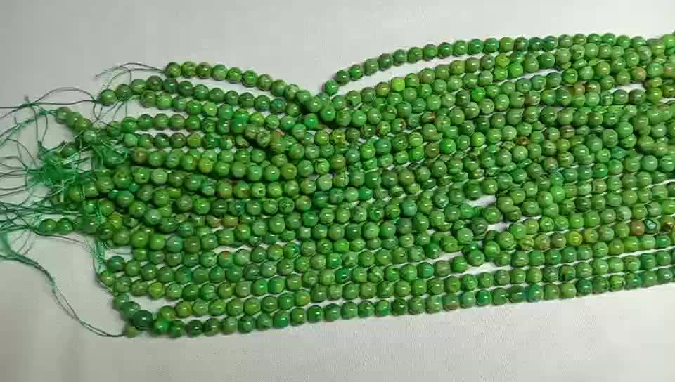 Natural Apple croal compressed  Round  shape beads Smooth and green gemstone strings