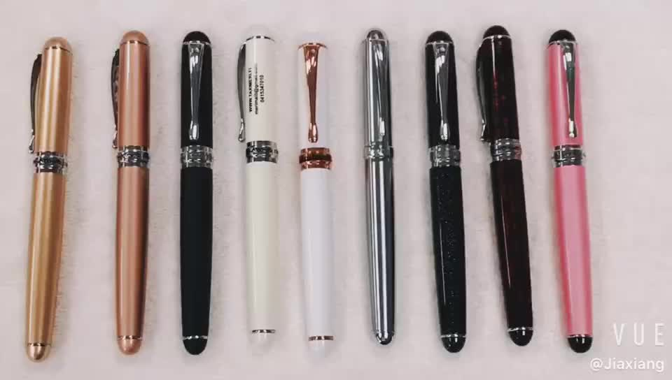 Chinese Stationery high quality heavy luxury custom logo promotional fat matte black metal fountain pen
