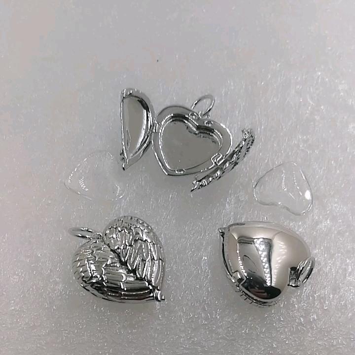 Cadeau saint valentin 925 en argent Sterling personnalisé bricolage personnalisé aile d'ange ouvert coeur Photo cadre pendentif médaillon breloque