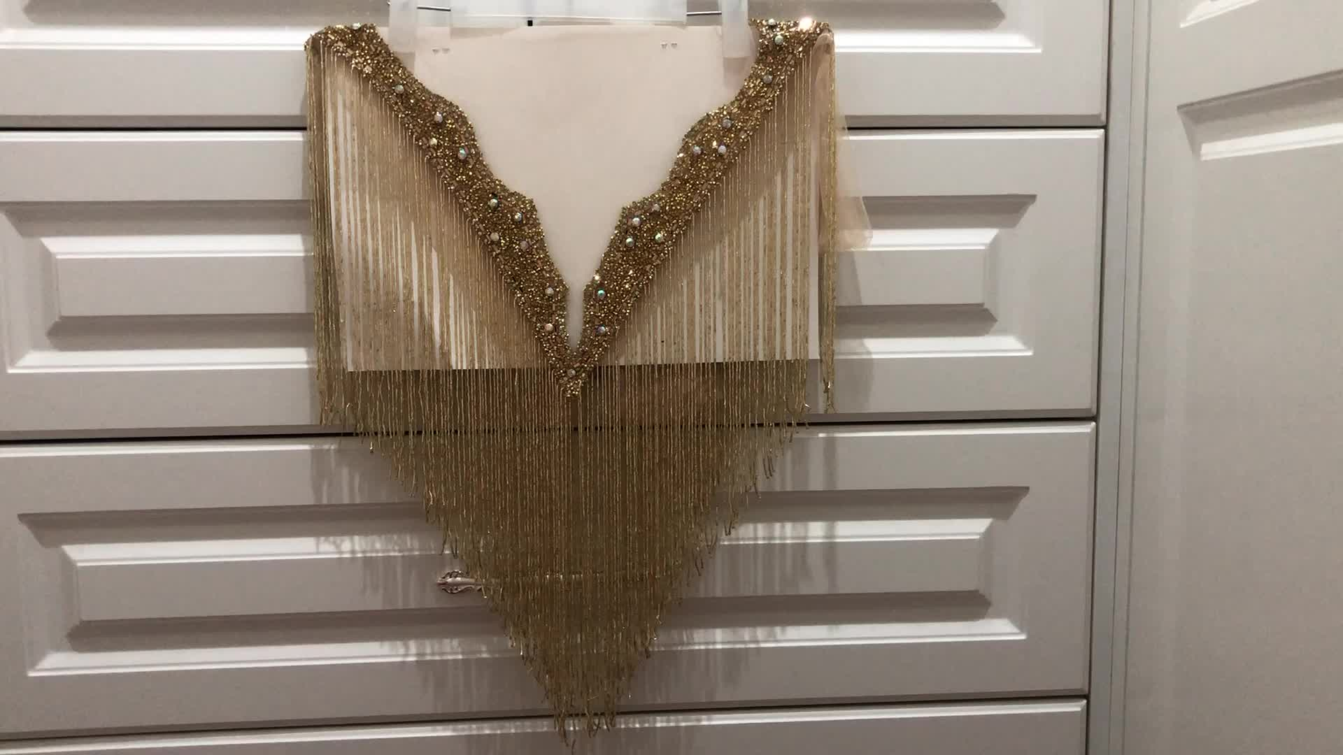 Double side gold color   crystal beaded neckline collar with fringe tassels appliques many color  Deep-V neckline