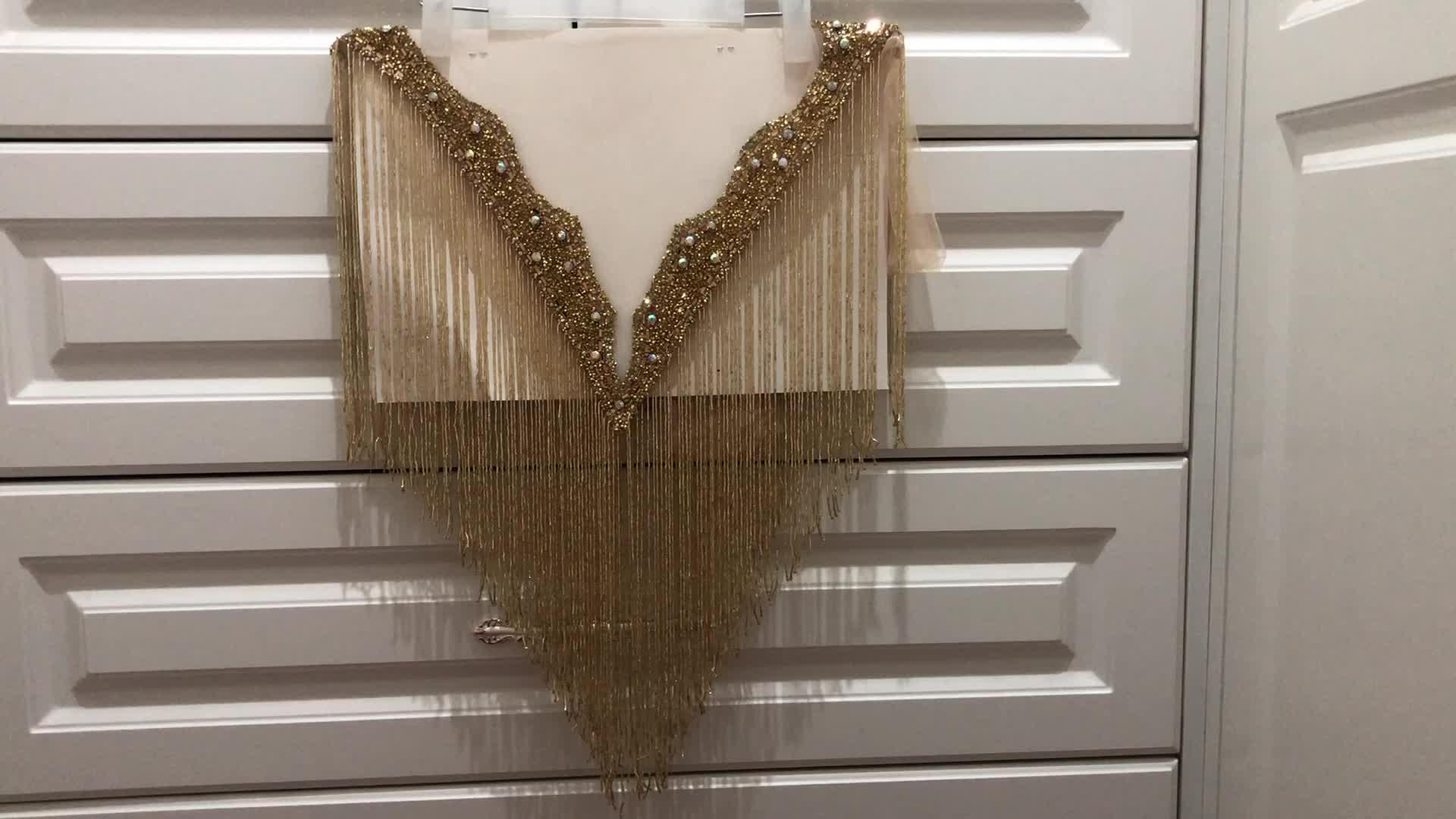 Double side  Gold   crystal beaded neckline collar with fringe tassels appliques many color  Deep-V neckline