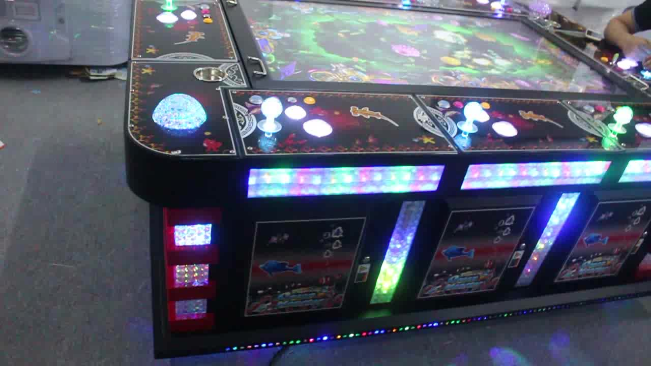 """55"""" 8P Black Classic Table Cabinet Coin Operated Fish Hunting Arcade Game Machine"""