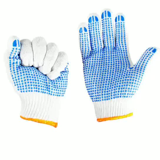 PVC Dotted Cotton Knitted gloves safety glove anti slip working gloves