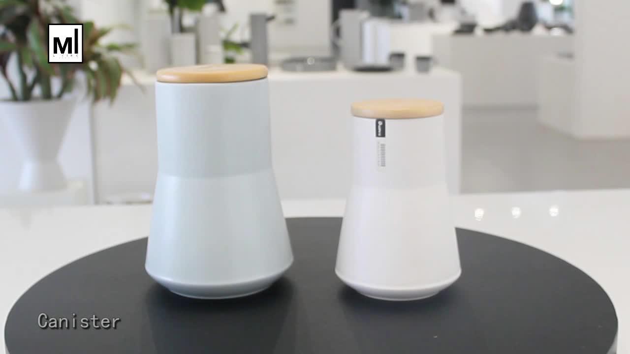 Unique irregular shape unglazed multiple used storage jar / ceramic canister with bamboo lid