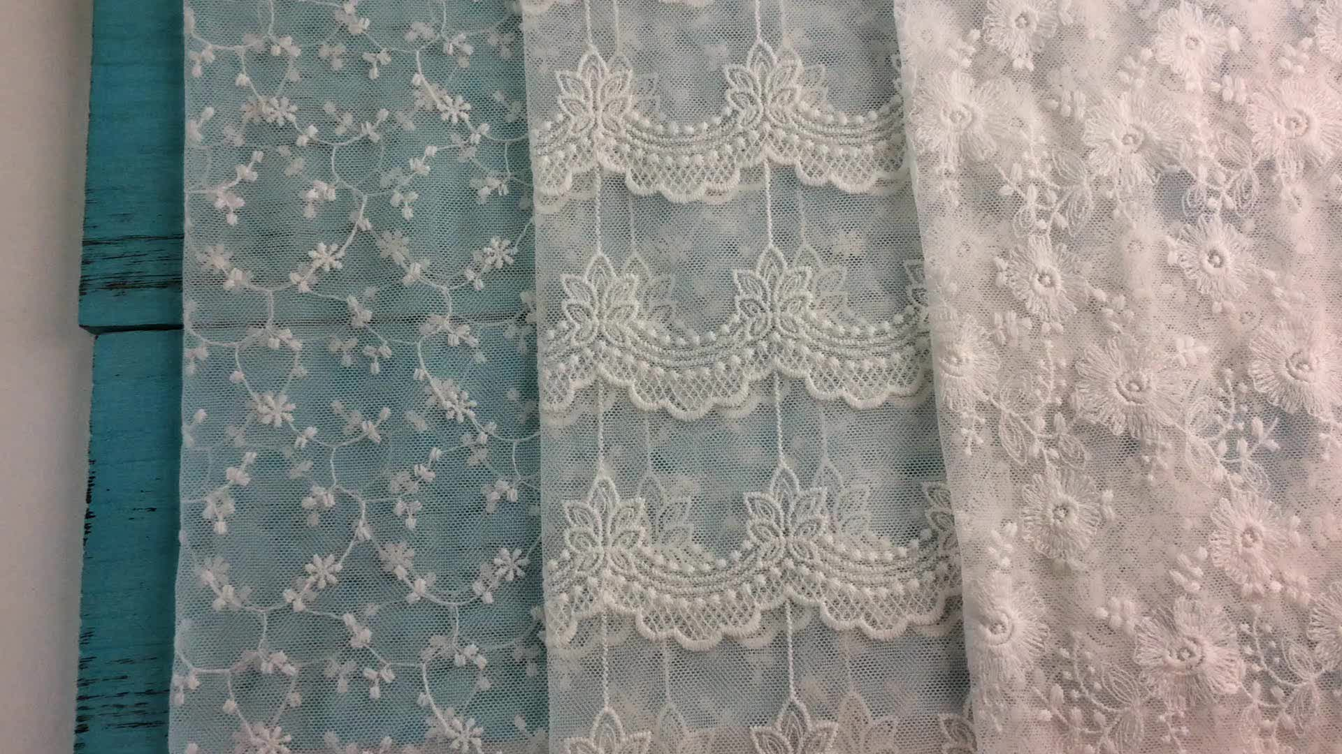 Korean Swiss Voile French Organic Double Gauze Laced Fabrics
