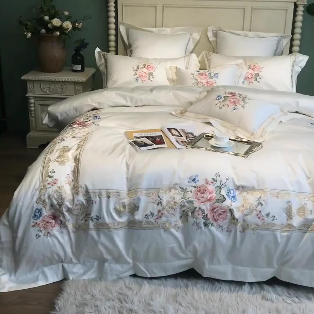 Luxury 100% cotton 4pcs 6pcs 7pcs white european embroidery bedding set 300 thread count