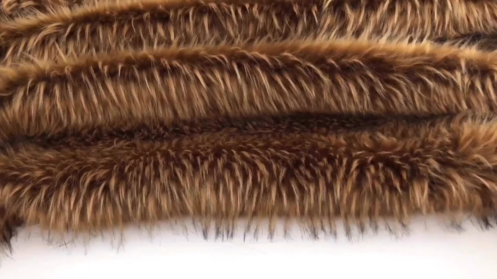 Long Hair Dark Brown Colorful Jacquard Faux Raccoon Fur Collar in Animal Fur