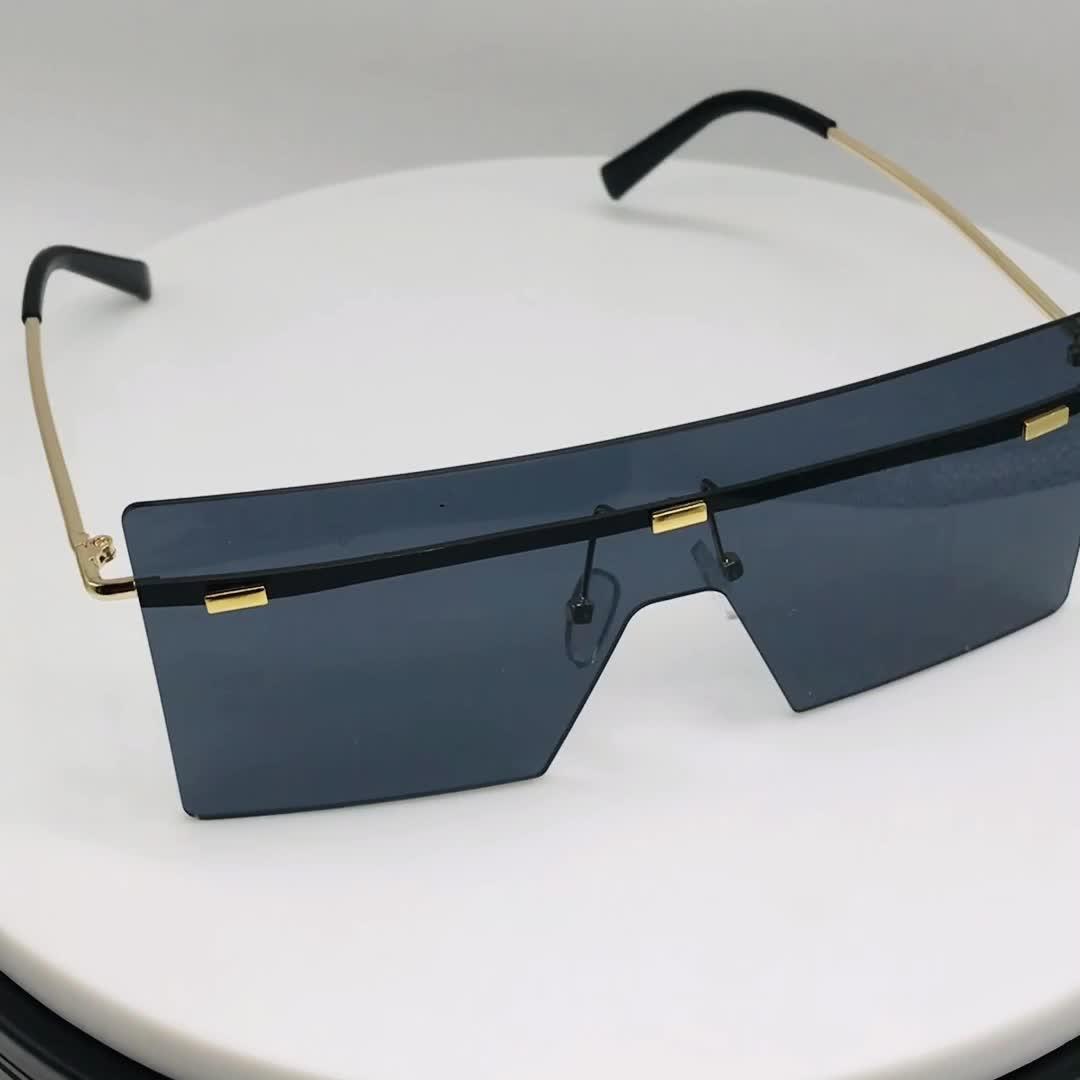 En gros nouveau concepteur clair lunettes de soleil unisexe intégrale sans monture nuances personnalisé dernière mode lunettes de soleil carrées surdimensionnées femmes