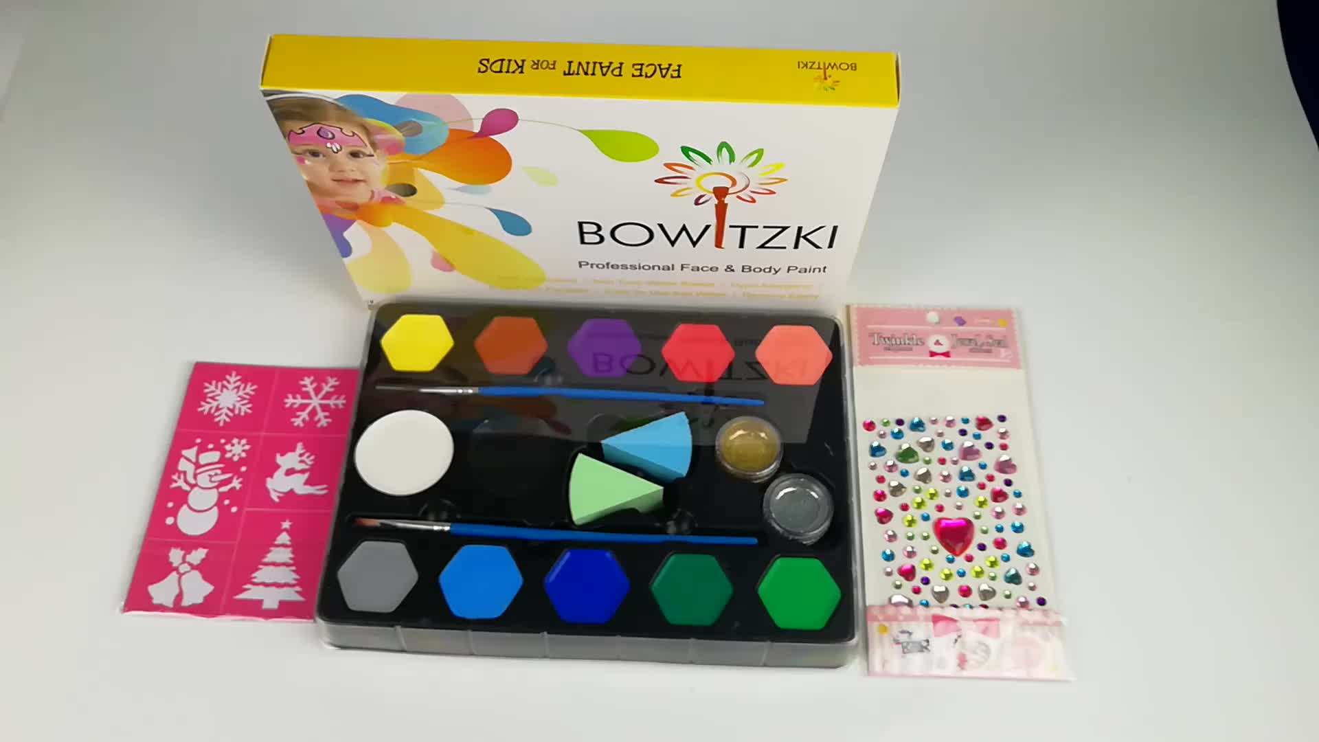 12 Color carnival  clown Water based Halloween body face painting kit for kids professional