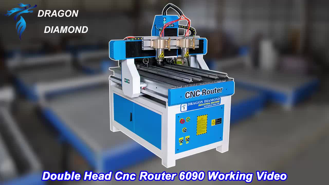 High Effective Mini Cnc 6090 Advertising Router With Dual Head For Wood,Acrylic,Pvc