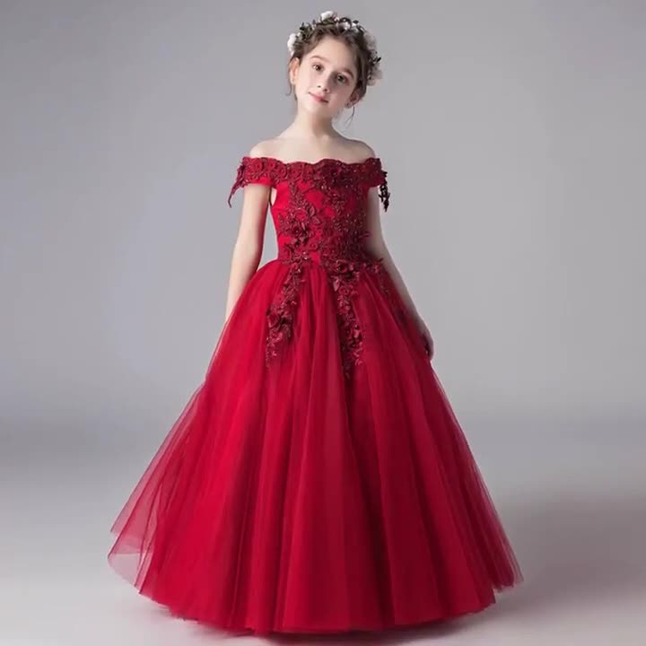 LA155 Jancember off shoulder elegant applique 3D flower princess flower girl dress