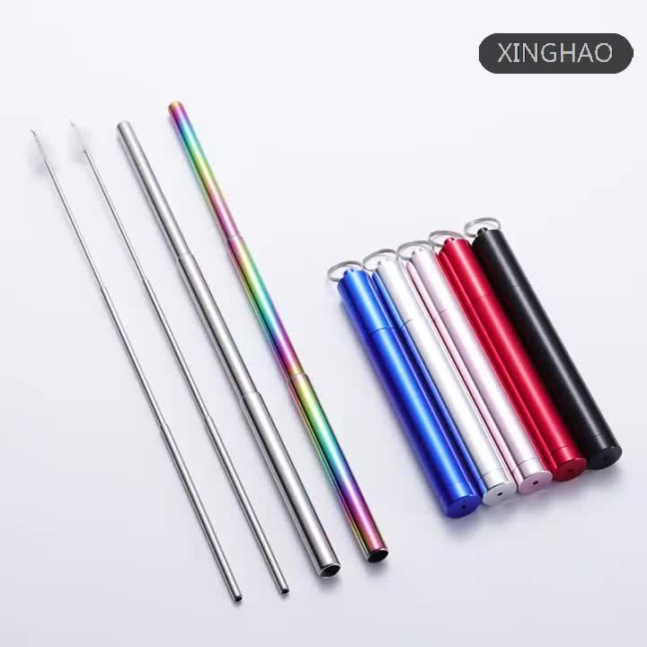 Good Price Eco-friendly Rainbow Color Portable Reusable Telescopic Drinking Straw with Cleaning Brush