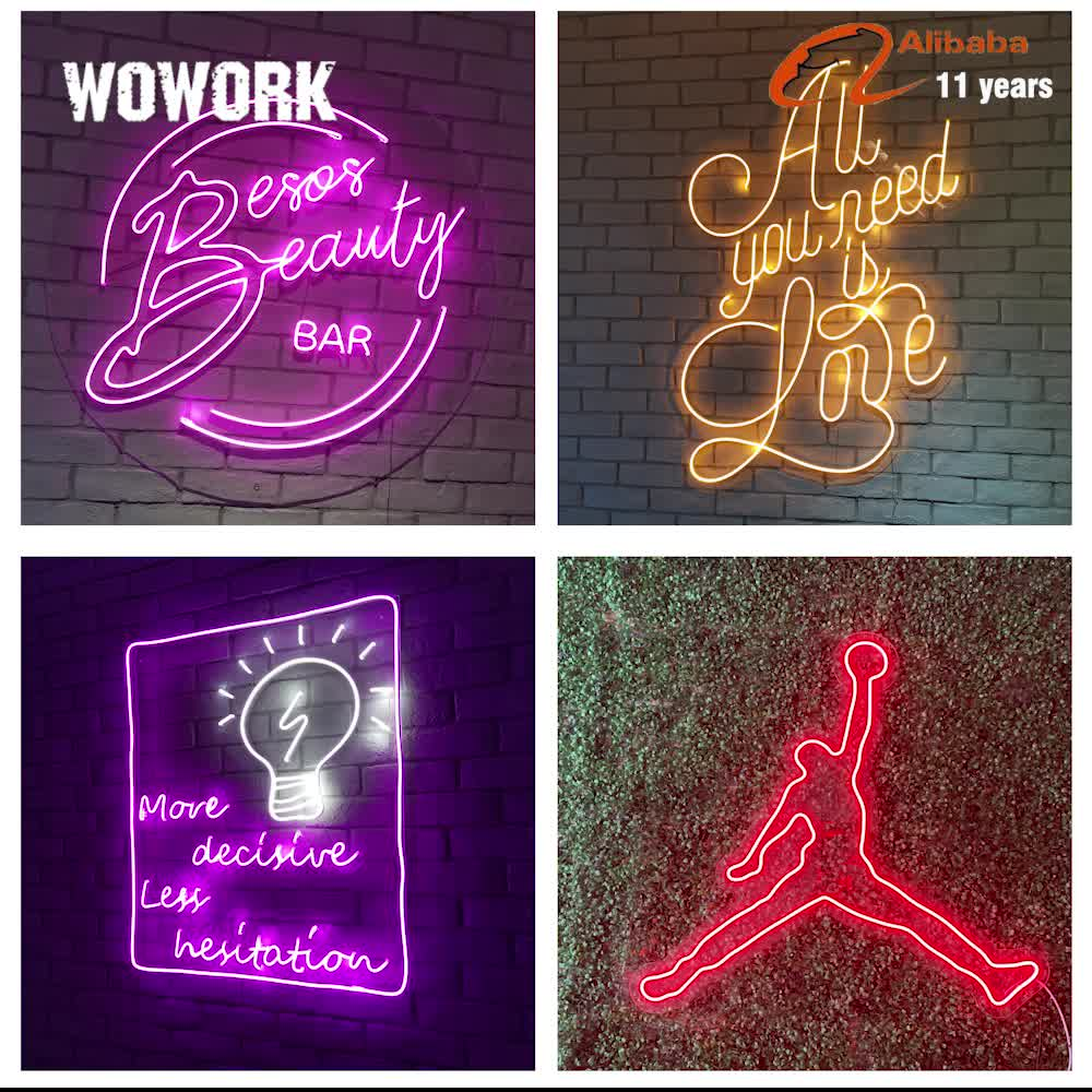 WOWORK Custom made events wedding 3D decorative sign letters led flexible neon light acrylic wedding sign with electronic sign