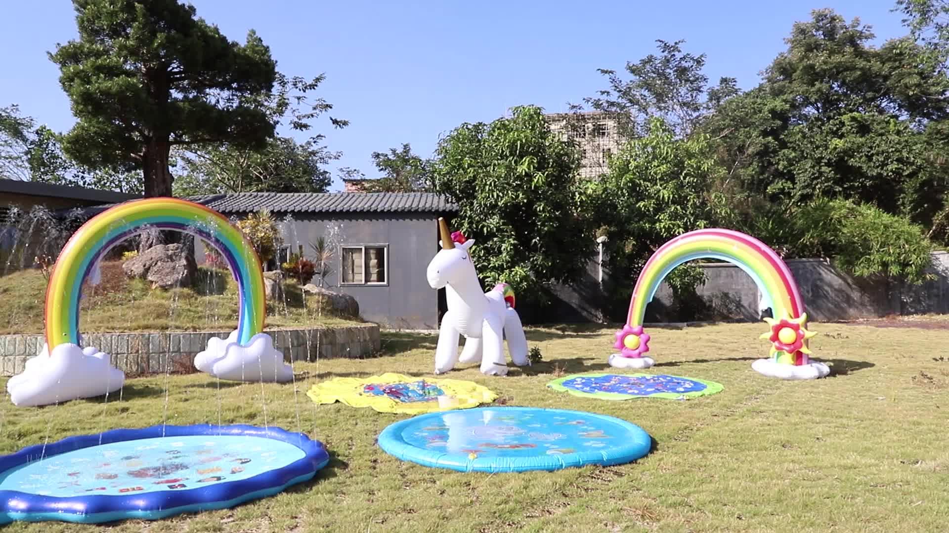 नियंत्रण रेखा छिड़काव Inflatable इंद्रधनुष आर्क खिलौना आउटडोर पानी खेलने बुझानेवाले से अधिक 6 फीट लंबी गर्मियों में मज़ा पिछवाड़े शिशुओं के लिए खेलने के लिए बच्चे
