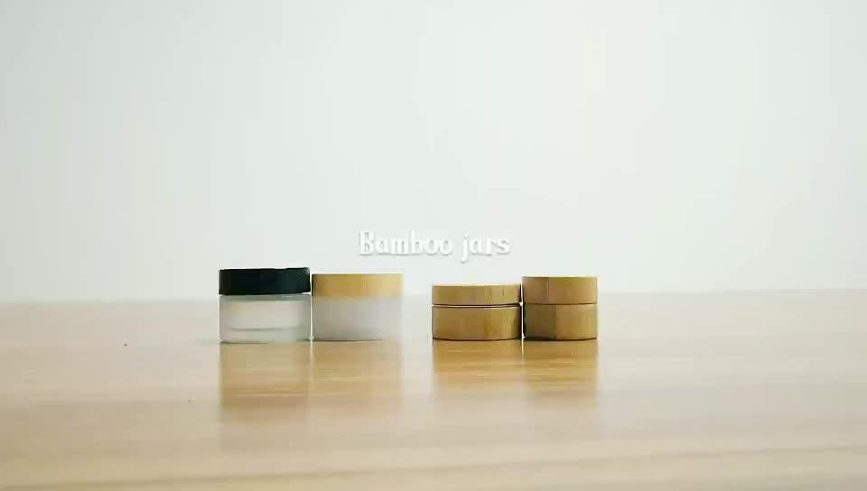 Kozmetik 5 ml 15 ml 30 ml 50 ml 100 ml temizle buzlu cam kavanoz vücut kremi için bambu ahşap kapaklı