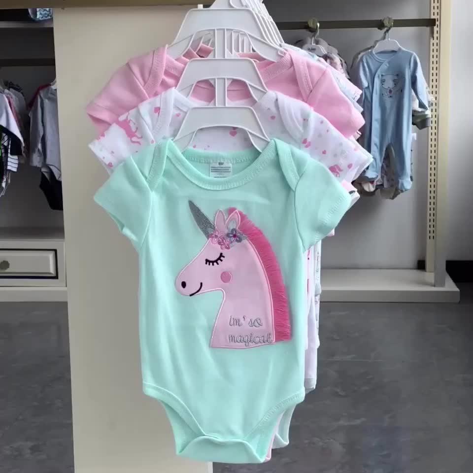 Elinfant 100% algodão 2019 novo design 4 pack 0-12 mês bebê manga curta bodysuits bonitos do bebê roupas de menina romper