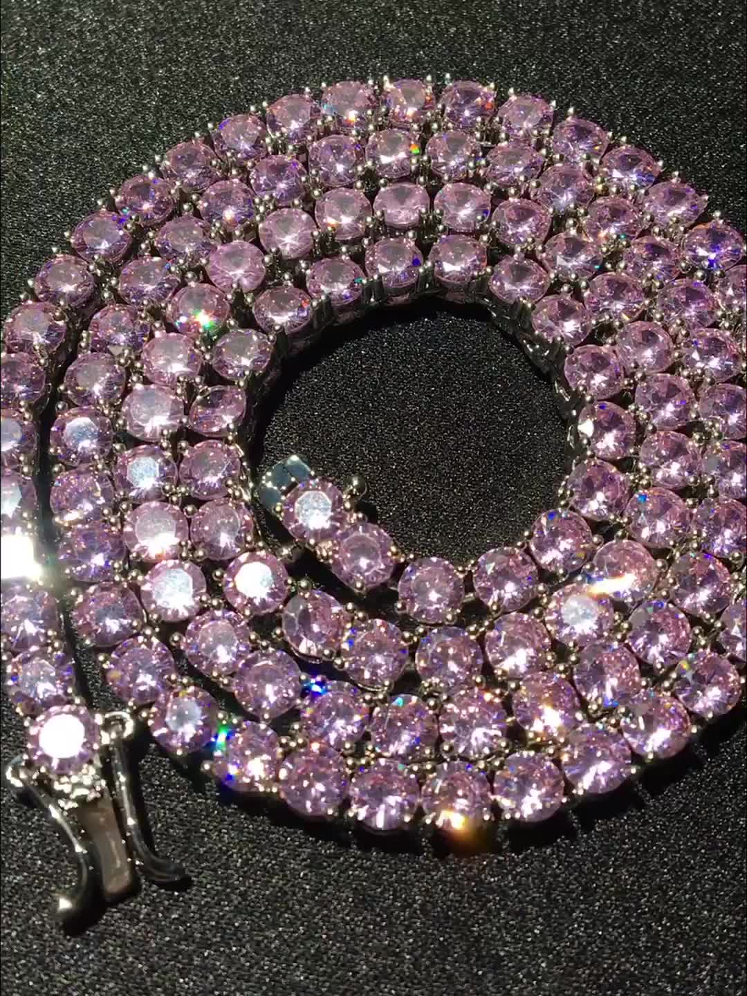 4mm Iced Out Pink CZ Tennis Chain Necklace AAAA Zirconia Women Men Choker Necklace