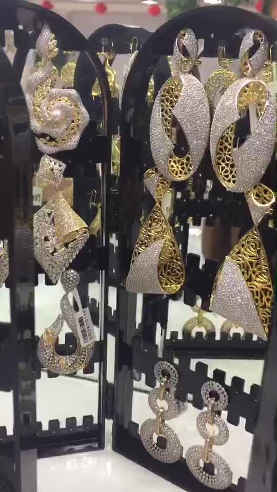 Top designs AAA Zirconia Dubai Gold Jewelry Earrings For Party