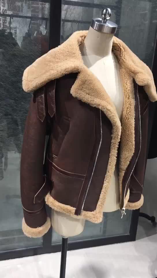 뜨거운 판매 겨울 양 모피 안감 부드러운 암소 파키스탄 가죽 자켓 모토 겨울 모피 자켓