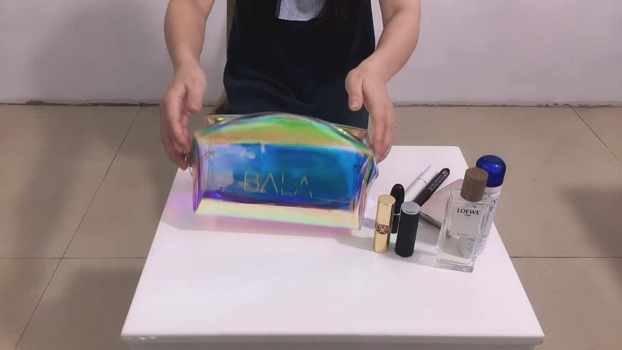 Custom pvc zipper gold holographic Cosmetic bag travel make up bag daily necessary food plastic bag