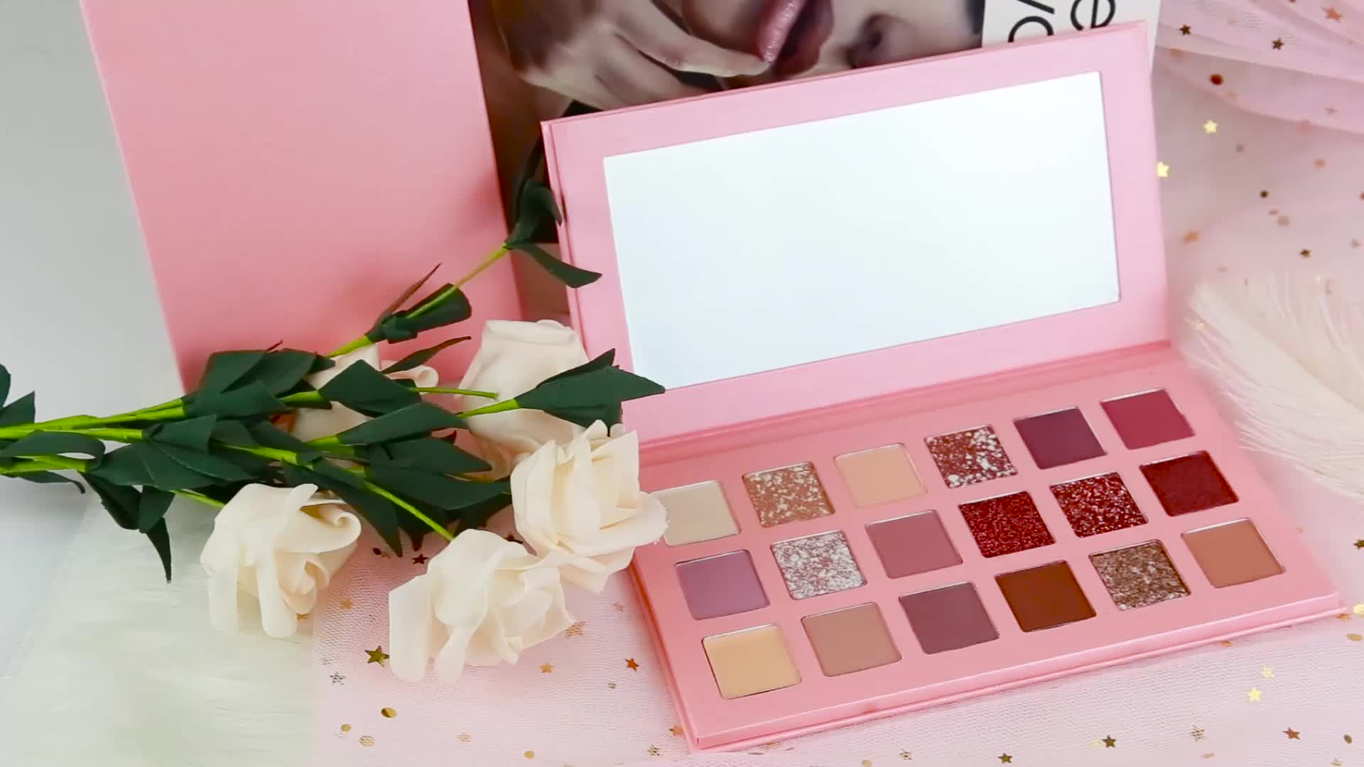 18 Colors Pink Eye Shadow Custom Logo 2020 New Arrivals Eyeshadow Palette Private Label