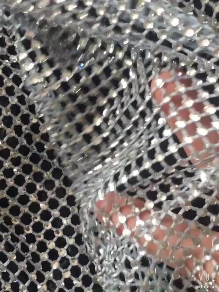 Hot sell customized colors neon yellow elastic crystal mesh fabric rhinestone mesh