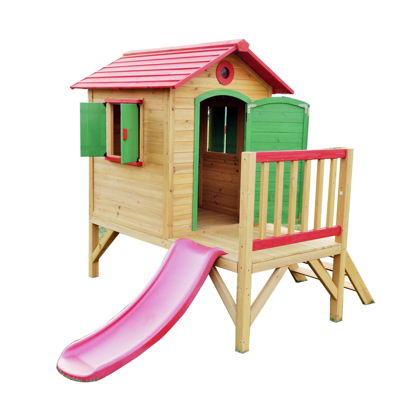Impermeabile Per Bambini All'aperto Casetta Per Bambini In Legno con Scivolo
