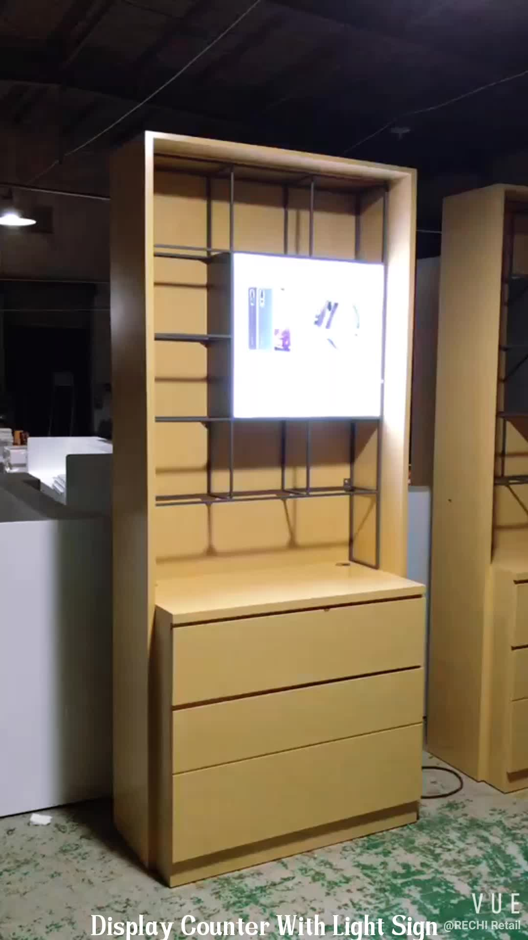 RECHI Custom Design & Made Wall Showcase for Mobile Phone Shop Cell Phone Accessory Display Counter With Shelf and Lighting Box