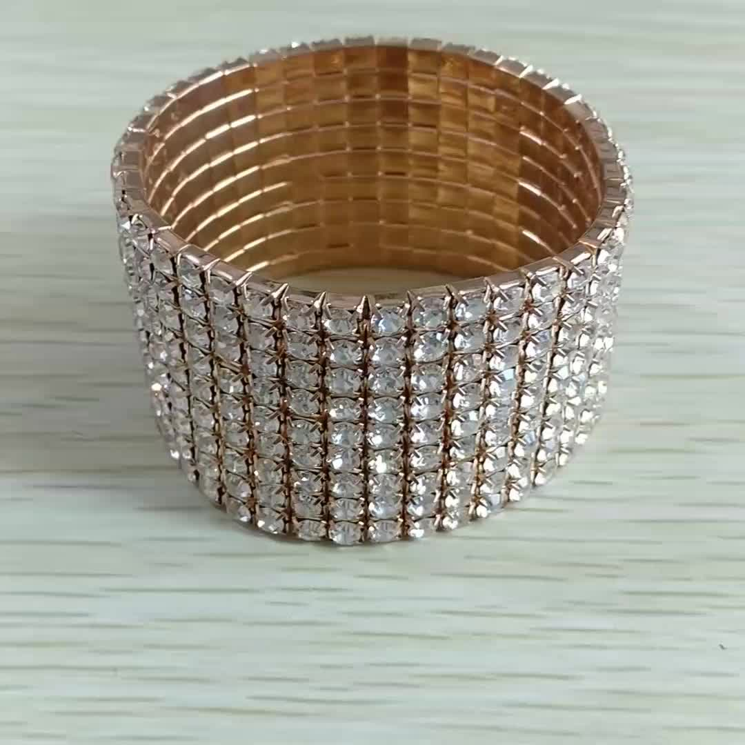 Fashion Women Cuff Bracelets Classic Personality Wild  Silver Gold 8 raws Rhinestone Elastic Tennis Bracelet Bangle
