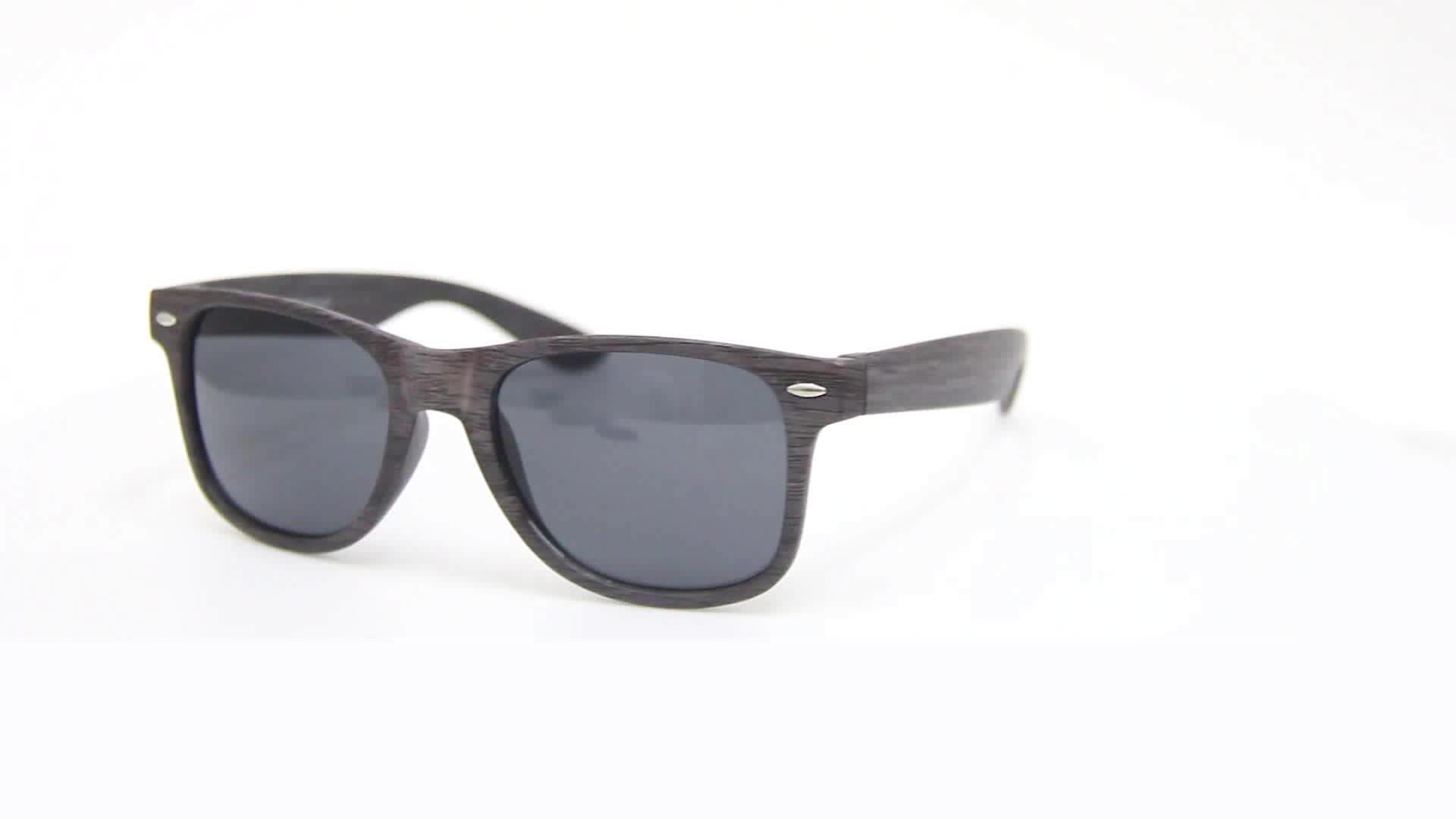 cheap promotional party colored plastic wood grain sunglasses