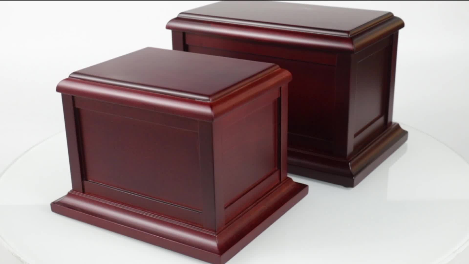 Factory Wholesale Birch Funeral Supplies Cremation Ashes Wooden Cinerary Casket