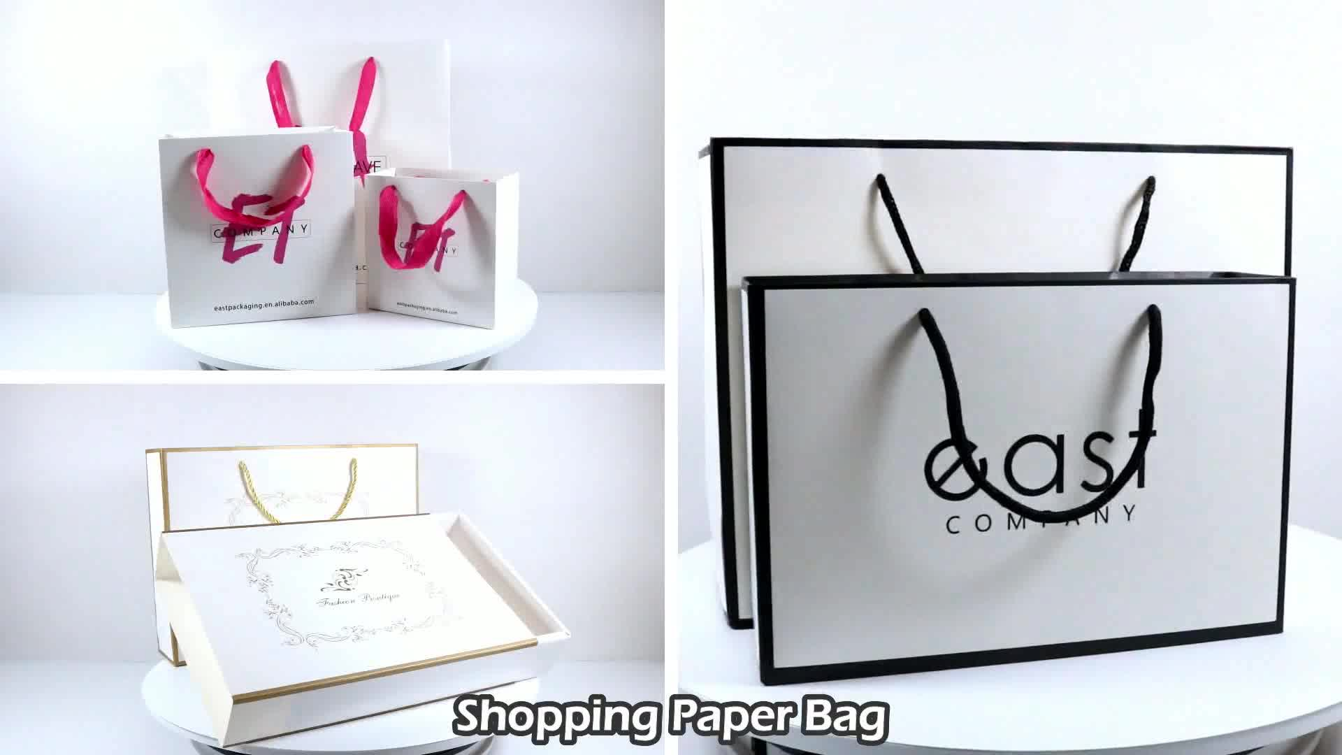 OEM ที่กำหนดเองหรูหรากระเป๋าสีดำร้อน Foiled Art กระดาษเคลือบกระเป๋า PP เชือก