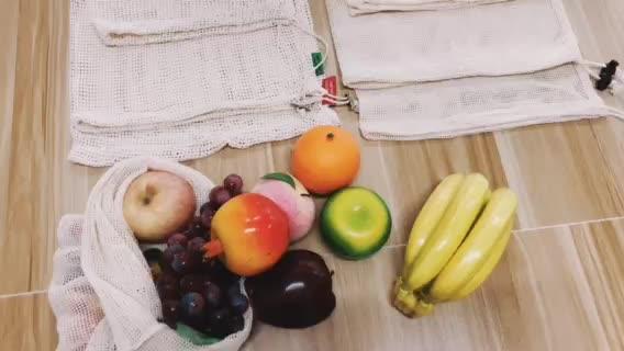 Herbruikbare Produceren Zakken met Trekkoord, Groene Zakken voor Groenten en fruit