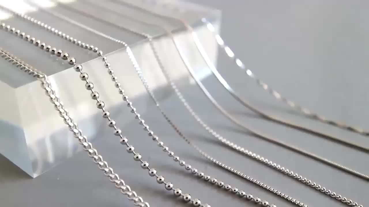 SLand Jewelry wholesale 18K gold plated solid 925 sterling silver chain bulk for jewelry making women/girls DIY necklace