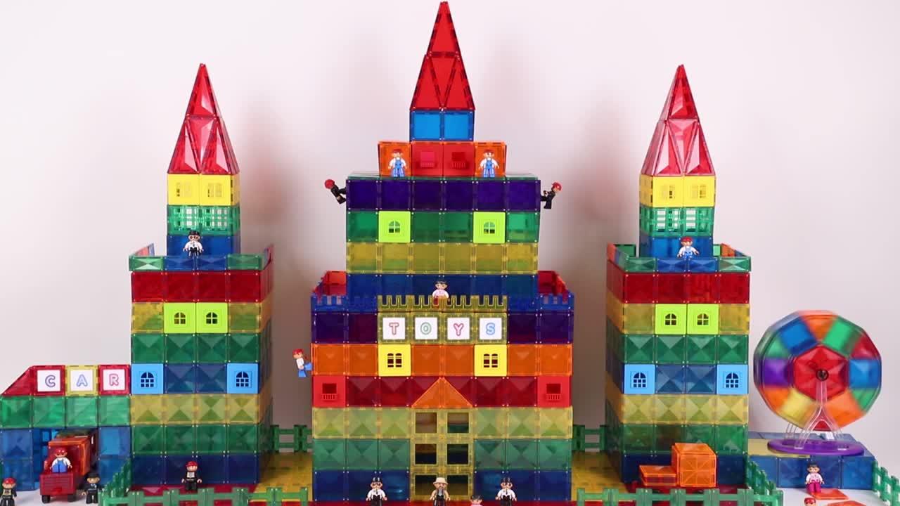 DIY colorful 66pcs abs plastic block magnet educational toys for children CE, EN71, ASTM