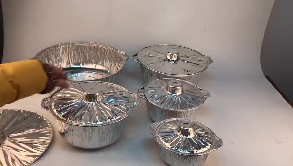 Disposable Aluminium Foil Food Containers Pot For Packing With Lid