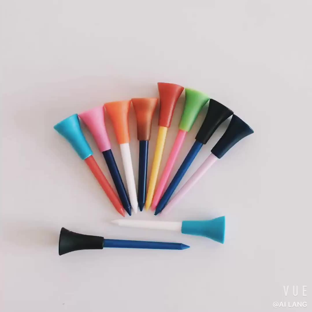 Factory Multicolored Rubber Cushion Top Plastic Golf Tees