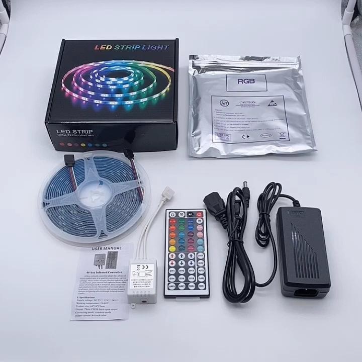 ТВ ПОДСВЕТКА 16.4ft 5 м 10 м гибкий 5050-30LEDS изменение цвета цветная (RGB) Светодиодная лента с 44-клавишный пульт ИК-пульт дистанционного управления