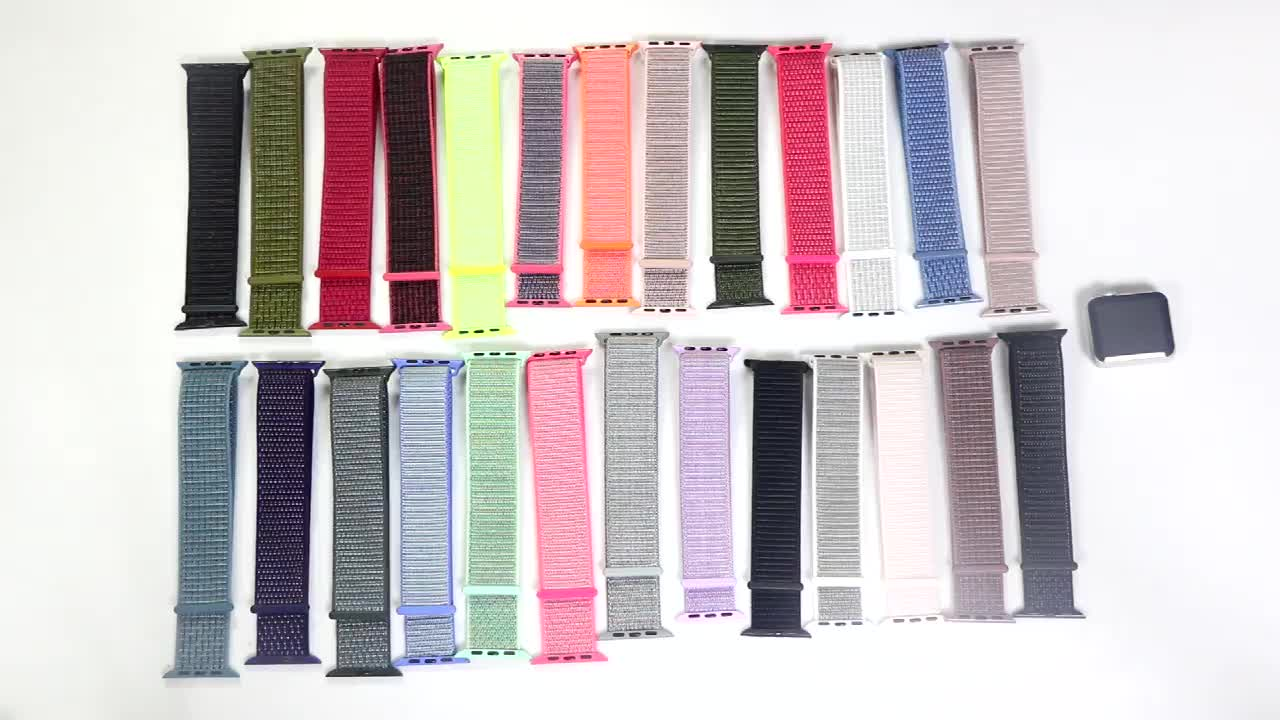 Sport Nylon Loop Watch Band For Apple Watch 38mm 40mm 42mm 44mm