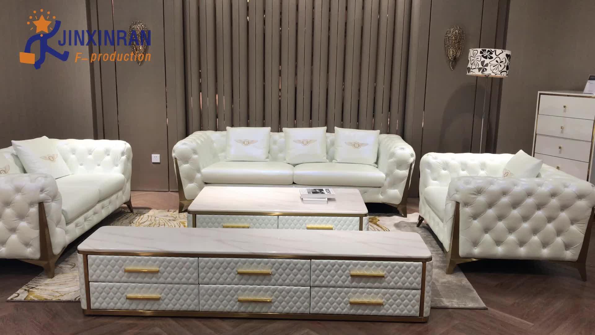 अमेरिकी आधुनिक कमरे में रहने वाले फर्नीचर Chesterfield सोफा सेट 3 सीटों वाले डिजाइन सफेद बटन गुच्छेदार चमड़े chesterfield सोफे